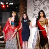 Geeta Basra and Zarine Khan with fashion designer Sonia Mehra walk on ramp at Aamby Valley Indian Br