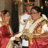 The President, Pratibha Devisingh Patil presenting the Padma Shri Award to Usha Uthup, at an Investiture Ceremony II, at Rashtrapati Bhavan, in New Delhi
