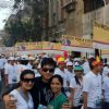 Karan Tacker with Yashashri Masurkar and Priyanka Bassi at Mumbai Marathon to promote Rang Badalti O