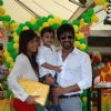 Ashish Chowdhry with wife and kid at Sanjay Dutt and Manyata Kids 1st Birthday