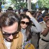 Bollywood actors Saif Ali with wife Kareena Kapoor leave for delhi