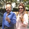 Rajesh Roshan casts his vote at a polling station in Mumbai