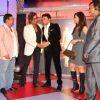 Shakti Kapoor gives Sangram Singh a hug at the India Leadership Conclave