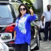 Farah Khan poses for the media at Airport while leaving for Ahmedabad