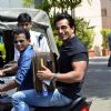 Sonu Sood arrives at the Airport on bike