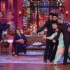 Dadi poses for a photo with Happy New Year Team on Comedy Nights with Kapil