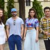Kalki Koechlin, Saif Ali Khan, Ileana D'Cruz and Govinda pose for the media at Mehboob Studios