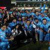 Team poses for the media during Mumbai Heroes Vs Kerala Strikers Match
