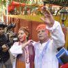 Javed Akhtar and Shabana Azmi pose for the media at the Holi Bash