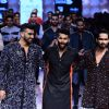 Shahid Kapoor and Arjun Kapoor walk for Kunal Rawal at Lakme Fashion Week 2015 Day 4