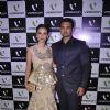 Evelyn Sharma and Mahaakshay Chakraborty pose for the media at Videocon Bash