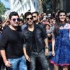 Varun Sharma, Varun Dhawan and Kriti Sanon at Promotions of 'Dilwale' at Mithibai College