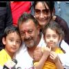 Sanjay Dutt : Sanjay Dutt With Kids at Press Con Held after His release from Yerwada Jail