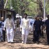 Abhishek Bachchan and Amitabh Bachchan at Suniel Shetty's father's funeral