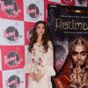 Deepika poses with the poster of her film, Padmavati