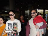 Saif and Kareena with baby Taimur return to Mumbai