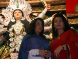 Raima Sen and Poonam Dhilon at the inauguration of Durga puja at North Kolkata