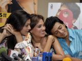 "Sushmita Sen, Lara Dutta & Ritesh Deshmukh at a press conference held in Mumbai to promote their movie ""Do Knot Disturb"""