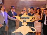 """Amitabh Bachchan, Riteish Deshmukh and  Jacqueline Fernandez at the music launch of a new film """"Alladin"""""""