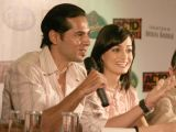 "Dia Mirza and Dino Morea in a press meet for their film ""Acid Factory"" in Kolkata"
