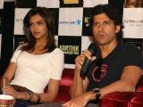 Deepika Padukone and Farhan Akhtar in New Delhi to promote their film ''''Karthik calling Karthik''''