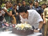 Aamir Khan celebrates his 45rd birthday with media today at his home in Mumbai