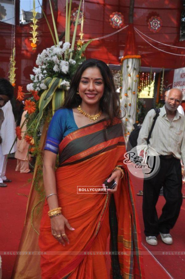Rupali Ganguly attend a Durga Puja event