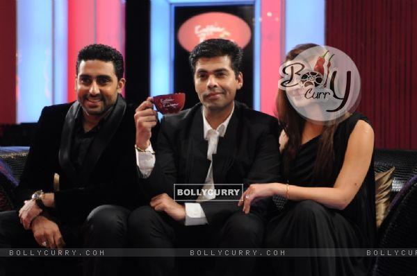 Aishwarya and Abhishek with Karan Johar on the sets of Koffee with Karan