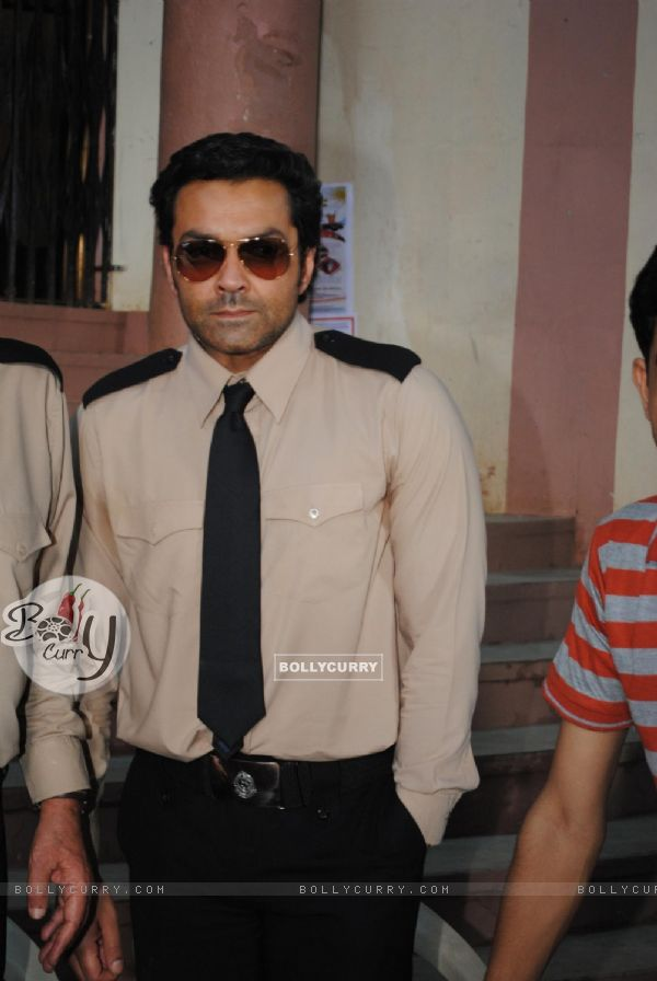 Bobby Deol on the sets of their film Yamla Pagla Deewana at Filmcity, Mumba