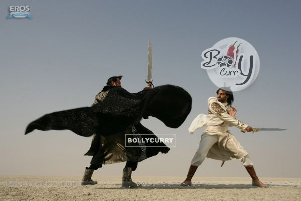 Kay Kay Menon and Abhshek fighting with sword