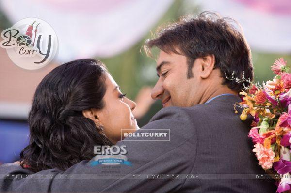 Kajol and Ajay Devgan loving scene