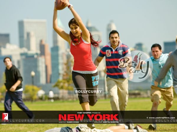 Katrina Kaif and John Abraham playing rugby
