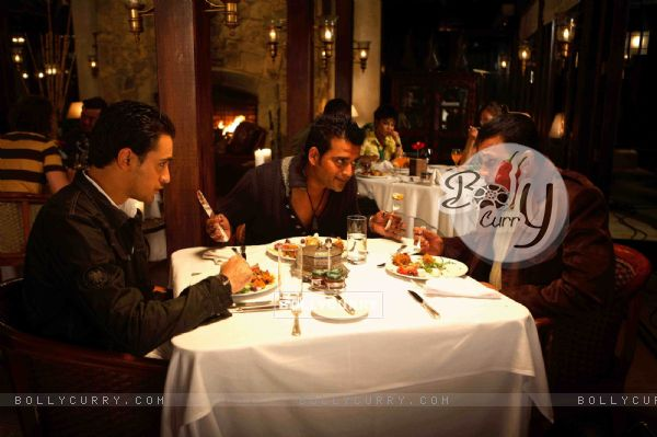 Mithun,Imraan and Ravi having their dinner