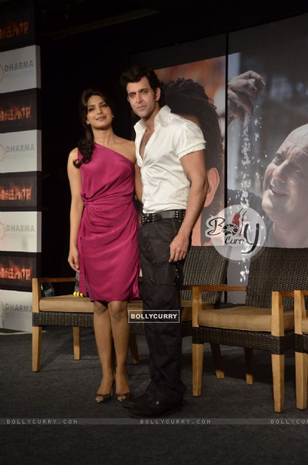 Hrithik Roshan with Priyanka Chopra at Agneepath Trailer Launch Event. .