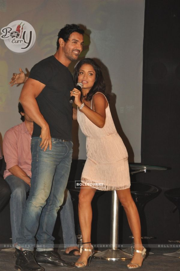 John Abraham with Sandhya Mridul during the promotion of their film 'Force' in Mumbai