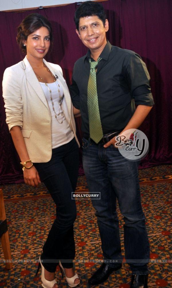 Priyanka Chopra with Omar Qureshi on Zoom