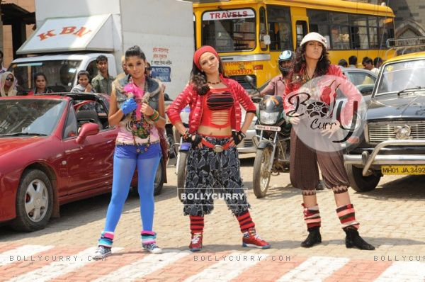 Additi Gupta, Kritika Kamra and Rakhi Sawant during the shooting of title song Zara Nachke Dikha