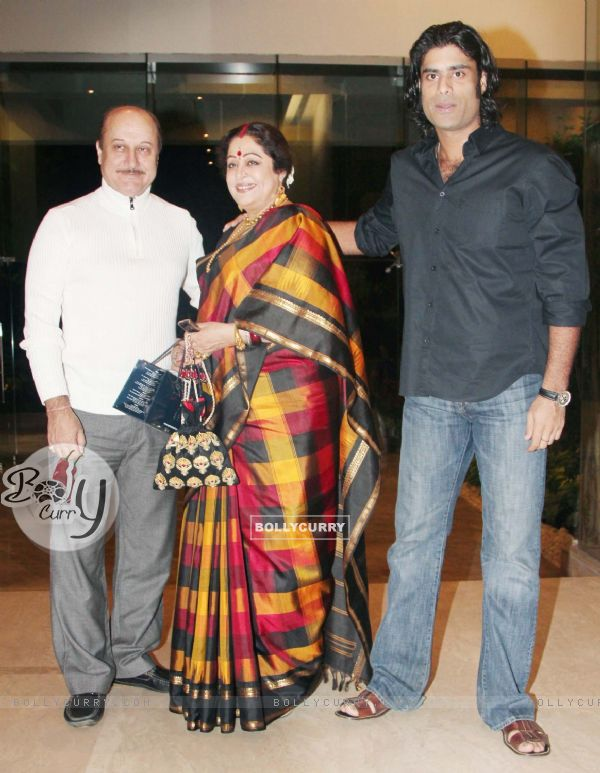 Anupam Kher, Kirron Kher and Sikander Kher at Farah Khan's House Warming Party
