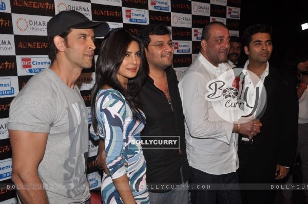 Hrithik Roshan, Sanjay Dutt, Priyanka Chopra and Karan Johar at 'Agneepath' trailer launch event
