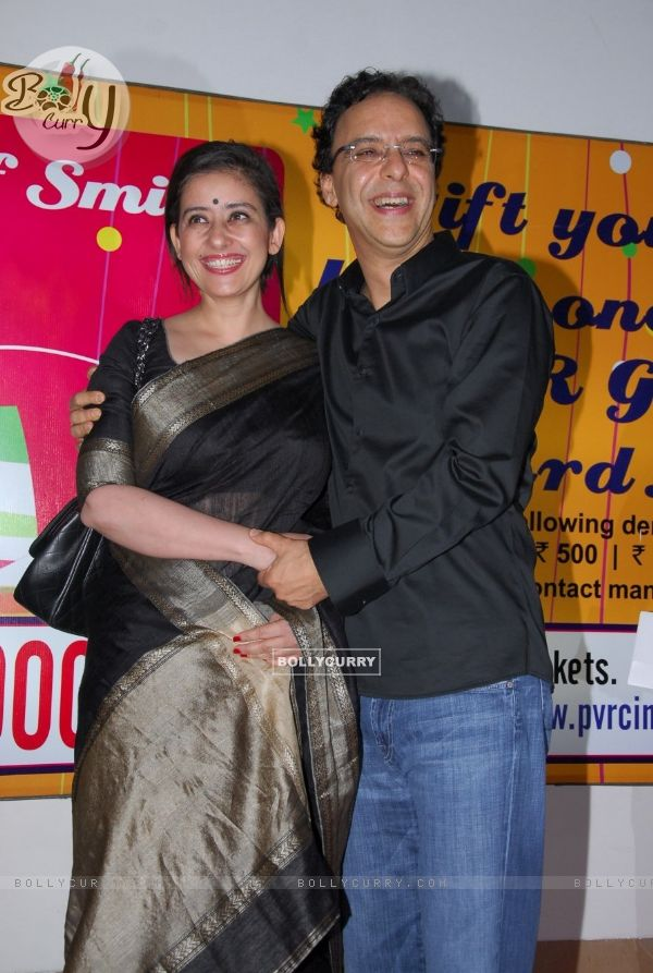 Vidhu Vinod Chopra and Manisha Koirala at premiere of film Parinda at PVR