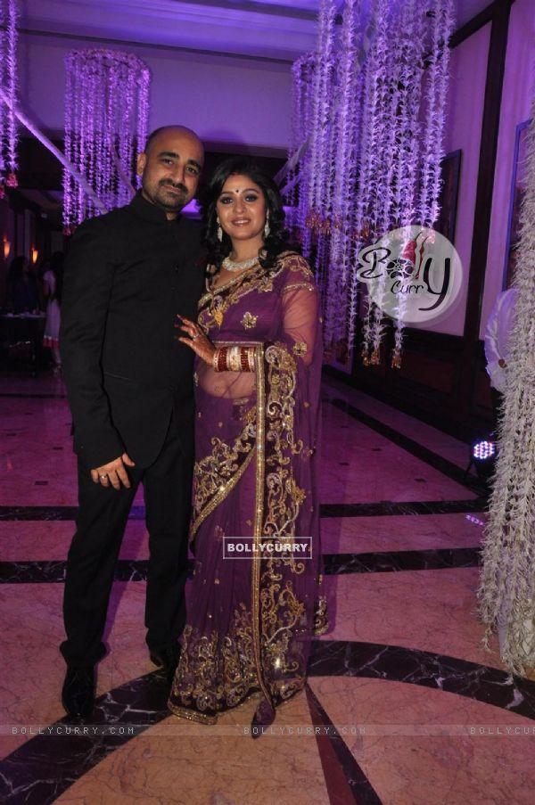Sunidhi Chauhan And Hitesh Sonik At Their Wedding Reception Ceremony