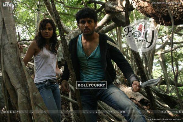 Nitin Reddy and Nisha Kothari looking shocked (20393)
