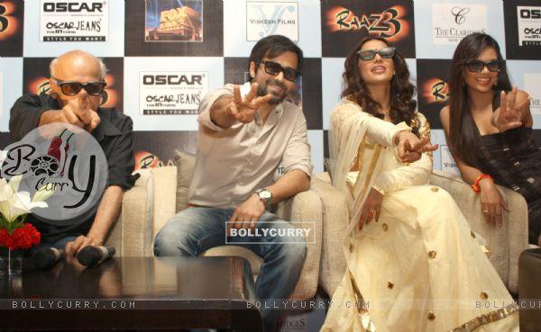 Bollywood actors Emraan Hashmi, Bipasha Basu, Esha Gupta and film producer Mahesh Bhatt at a press meet for the film Raaz-3 in New Delhi .