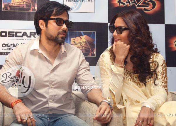 Bollywood actors Emraan Hashmi and Bipasha Basu at a press meet for the film Raaz-3 in New Delhi .