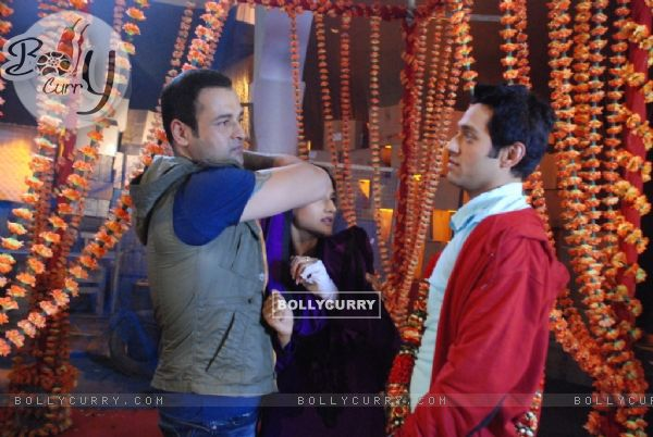 A still of Rohit Roy and Sumit Vats from Hitler Didi