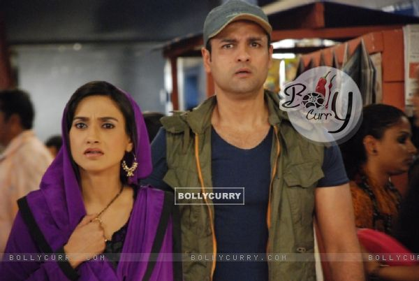 A still of Rati Pandey and Rohit Roy in Hitler Didi