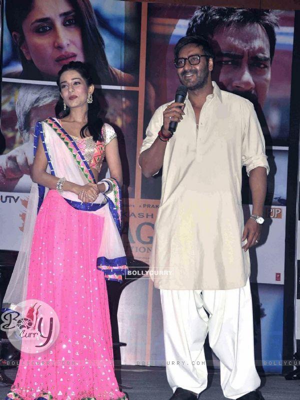 Amrita Rao and Ajay Devgan at Satyagraha movie promotion