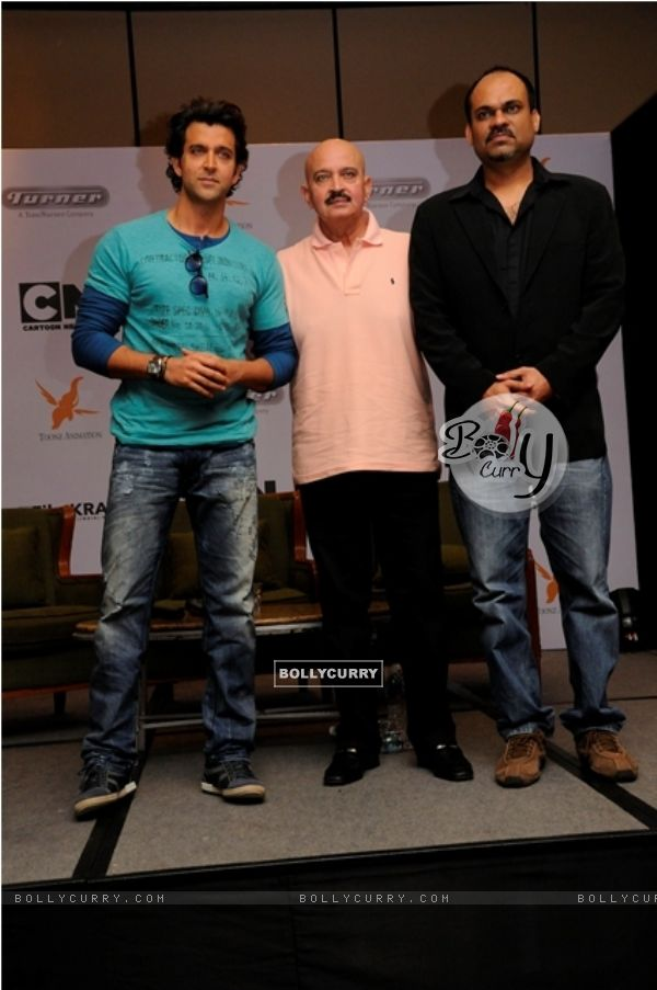 Hrithik, Rakesh Roshan and Krishna Desai at the launch of Cartoon Network's Kid Krrish