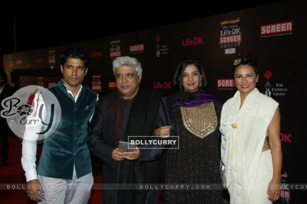 Javed Akhtar with his family at the 20th Annual Life OK Screen Awards