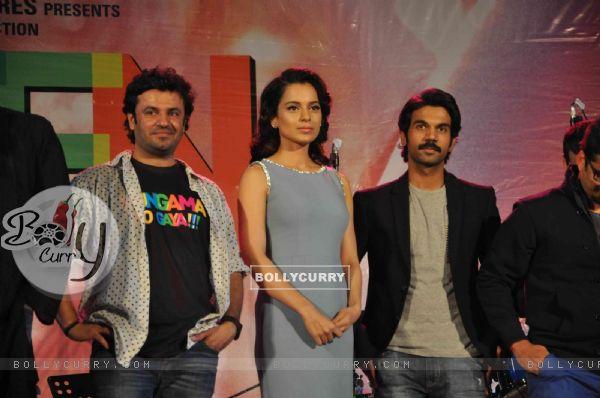 Vikas Bahl, Kangana Ranaut and Rajkummar Rao were at the Music launch of 'Queen'